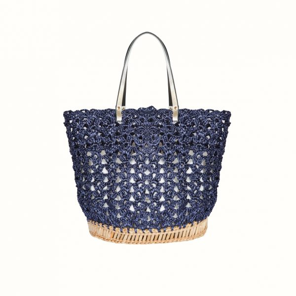 1_Basket_rafia_Crochet_with_handle_in_leather_bicolor_Black_Silver_and_natural_RUSH_Gabriela_Vlad