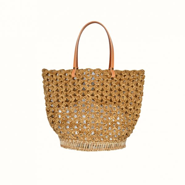 1_Basket_rafia_Crochet_with_handle_in_leather_bicolor_Natural_Gold_and_natural_RUSH_Gabriela_Vlad