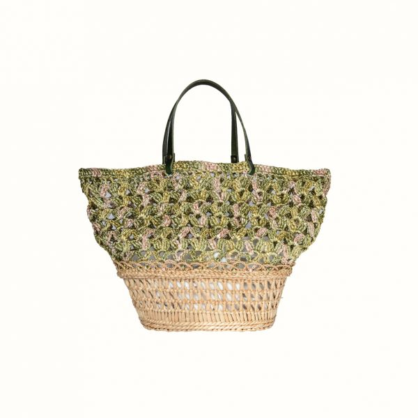 1_Basket_rafia_Crochet_with_handle_in_leather_col_Verde_and_natural RUSH_Gabriela_Vlad