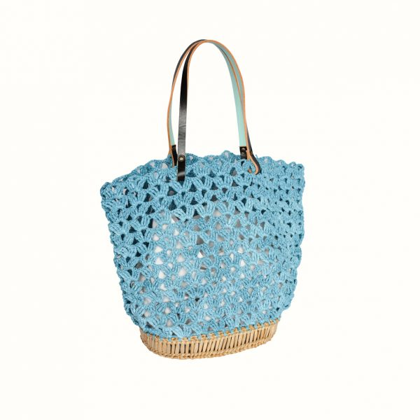 Basket_rafia_Crochet_with_handle_in_leather_bicolor_Black_Celeste_and_natural_RUSH