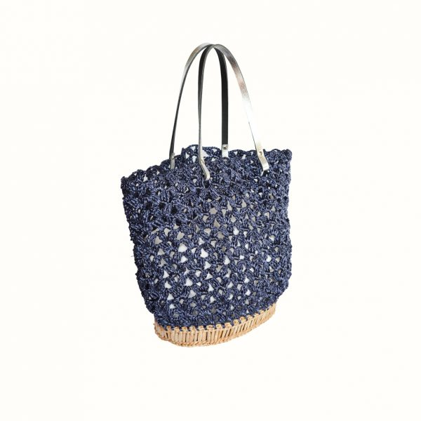 Basket_rafia_Crochet_with_handle_in_leather_bicolor_Black_Silver_and_natural_RUSH