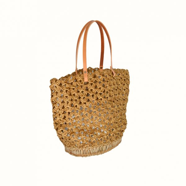 Basket_rafia_Crochet_with_handle_in_leather_bicolor_Natural_Gold_and_natural_RUSH