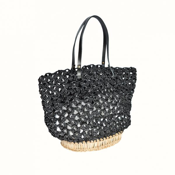 Basket_rafia_Crochet_with_handle_in_leather_col_Black_and_natural_RUSH